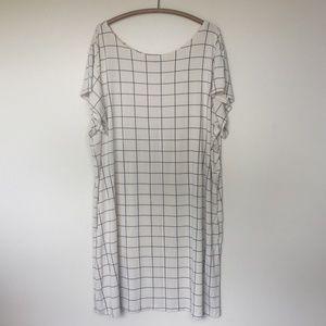 ALTAR HOUSELINE Windowpane Tee Shirt Dress XXXL